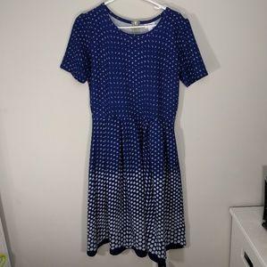 Lularoe Amelia Royal Blue w/ Ombre-effect pattern